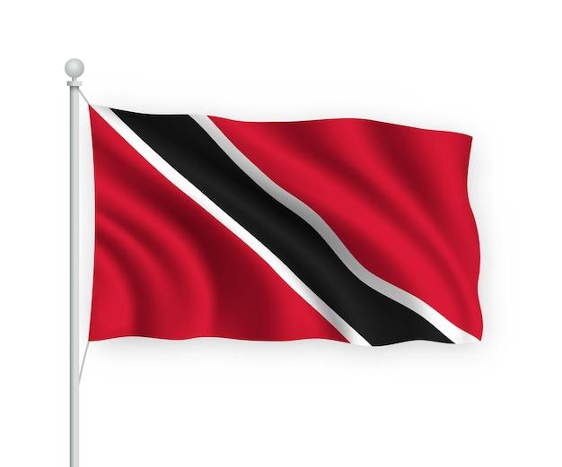 Sventolando la bandiera trinidad e tobago sul pennone isolato su bianco