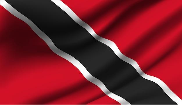 Sventolando la bandiera di trinidad e tobago. sventolando la bandiera di trinidad e tobago astratto
