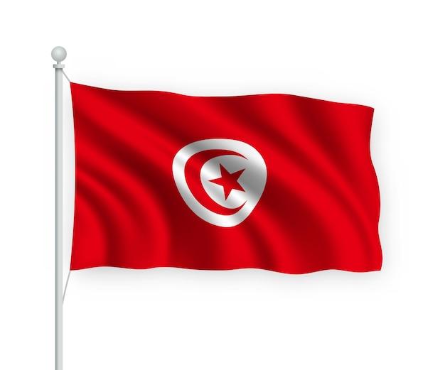 Sventolando bandiera tunisia sul pennone isolato su bianco