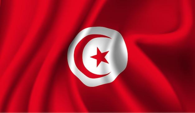 Sventolando la bandiera della tunisia. sventolando la bandiera della tunisia sfondo astratto