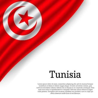 Sventolando la bandiera della tunisia su bianco