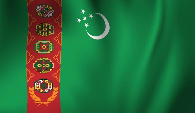 Sventolando la bandiera del turkmenistan. sventolando il fondo astratto della bandiera del turkmenistan