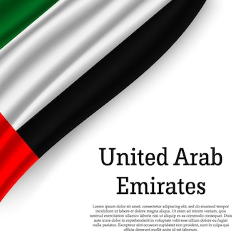 Sventolando la bandiera degli emirati arabi uniti su bianco