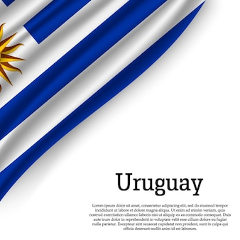 Sventolando la bandiera dell'uruguay su bianco