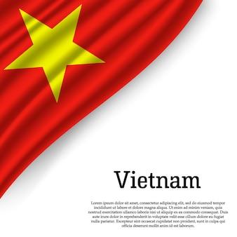 Sventolando la bandiera del vietnam su bianco
