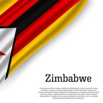 Sventolando la bandiera dello zimbabwe su bianco
