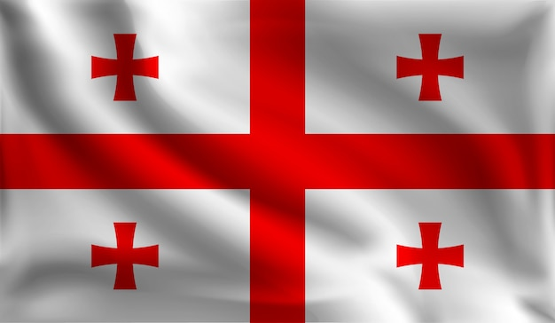 Sventolando la bandiera georgiana, la bandiera della georgia