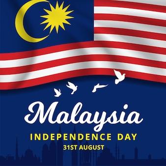 Sventolando la bandiera della bandiera nazionale della malesia