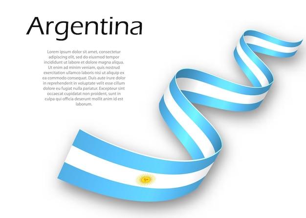 Sventolando nastro o banner con bandiera dell'argentina. modello per il design del poster del giorno dell'indipendenza