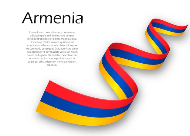 Sventolando nastro o banner con bandiera dell'armenia. modello per il design del poster del giorno dell'indipendenza