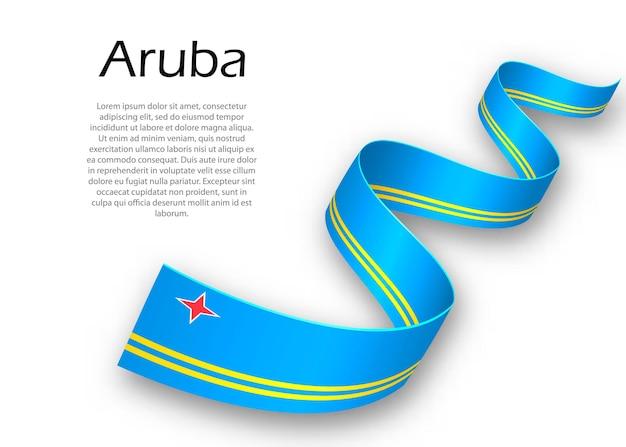 Sventolando nastro o banner con bandiera di aruba. modello per il design del poster del giorno dell'indipendenza