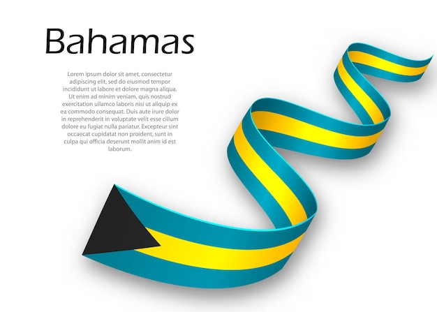 Sventolando nastro o banner con bandiera delle bahamas. modello per il design del poster del giorno dell'indipendenza