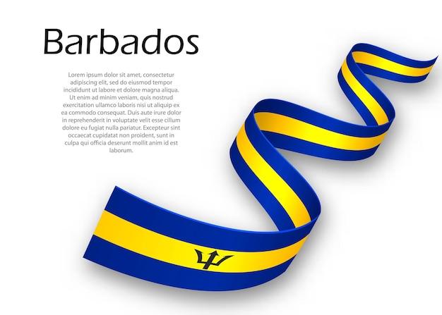 Sventolando nastro o banner con bandiera delle barbados. modello per il design del poster del giorno dell'indipendenza