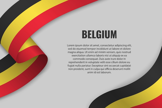 Sventolando in nastro o un banner con la bandiera del belgio. modello
