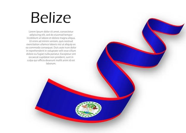 Sventolando il nastro o un banner con la bandiera del belize. modello per il design del poster del giorno dell'indipendenza
