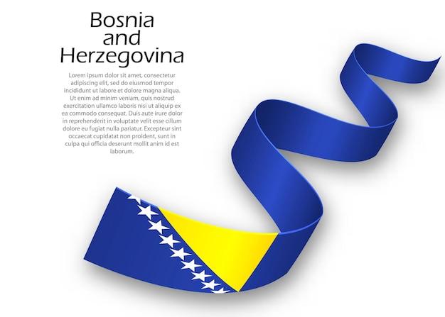 Sventolando il nastro o un banner con la bandiera della bosnia ed erzegovina. modello per il design del poster del giorno dell'indipendenza