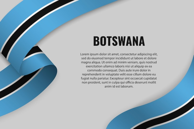 Sventolando in nastro o banner con bandiera del botswana. modello