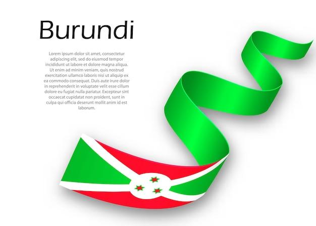 Sventolando il nastro o un banner con la bandiera del burundi. modello per il design del poster del giorno dell'indipendenza