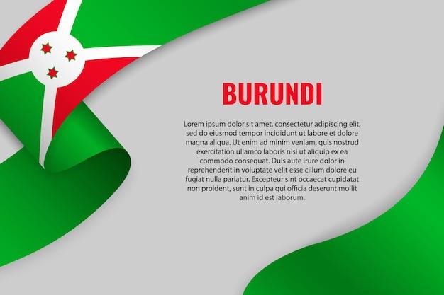 Sventolando in nastro o banner con bandiera del burundi. modello