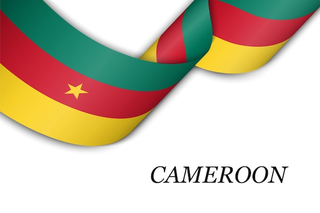 Sventolando in nastro o banner con bandiera del camerun.