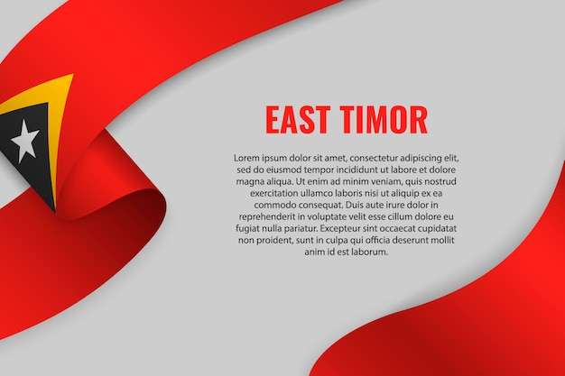 Sventolando in nastro o banner con bandiera di timor orientale Vettore Premium
