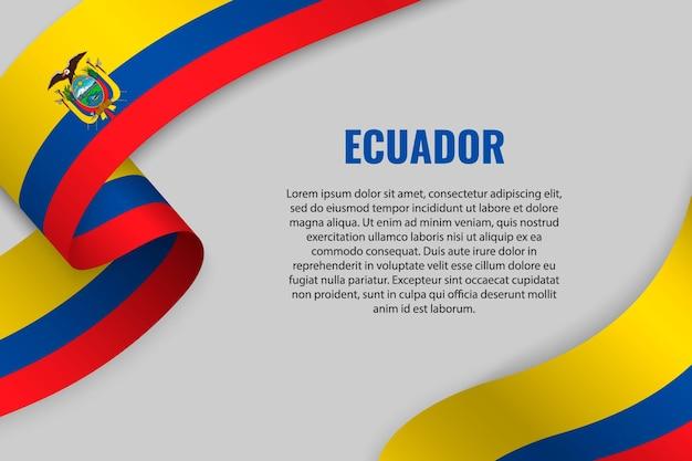 Sventolando in nastro o banner con bandiera dell'ecuador
