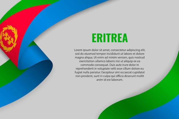 Sventolando in nastro o banner con bandiera dell'eritrea