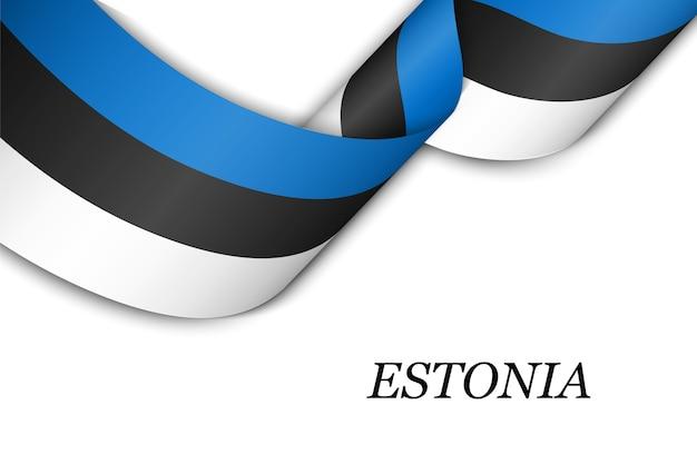 Sventolando in nastro o banner con bandiera dell'estonia.