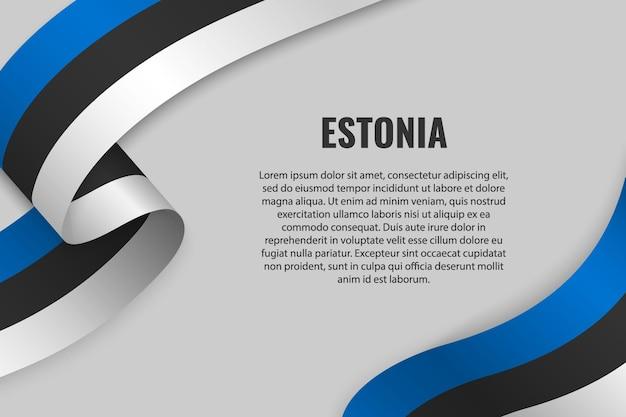 Sventolando in nastro o banner con bandiera dell'estonia
