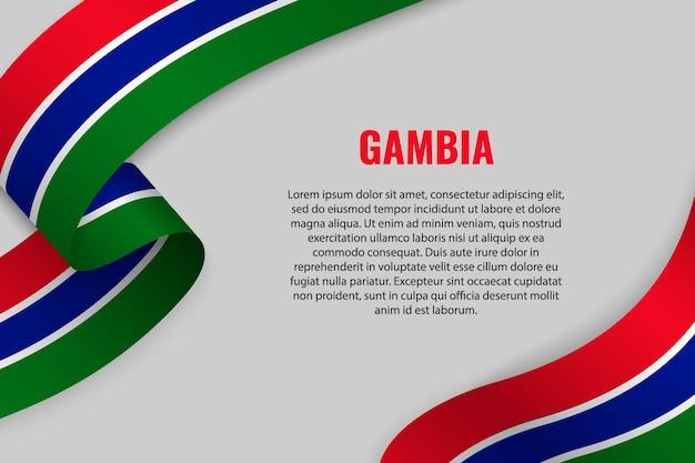 Sventolando in nastro o banner con bandiera del gambia