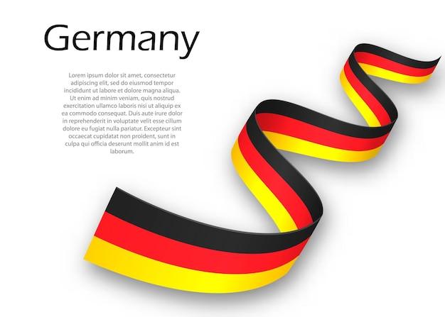 Sventolando il nastro o un banner con la bandiera della germania. modello per il design del poster del giorno dell'indipendenza