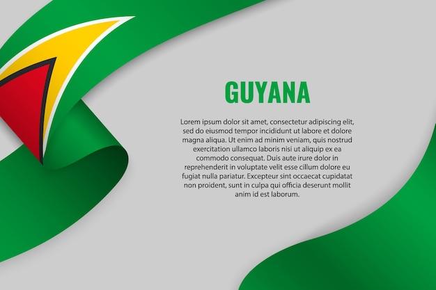 Sventolando in nastro o banner con bandiera della guyana