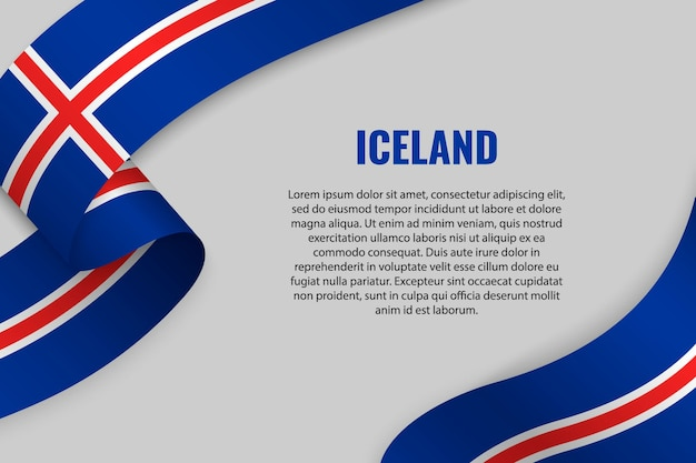 Sventolando in nastro o banner con bandiera dell'islanda