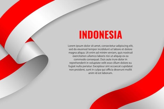 Sventolando in nastro o banner con bandiera dell'indonesia