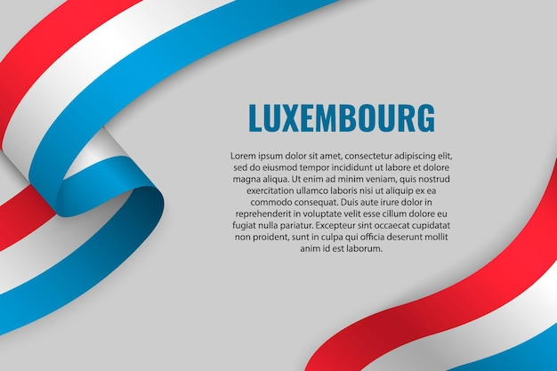 Sventolando in nastro o banner con bandiera del lussemburgo