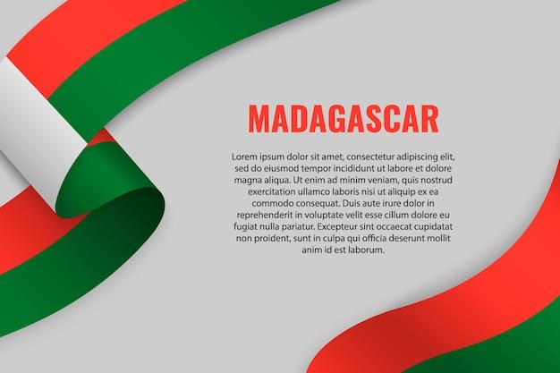 Sventolando in nastro o banner con bandiera del madagascar