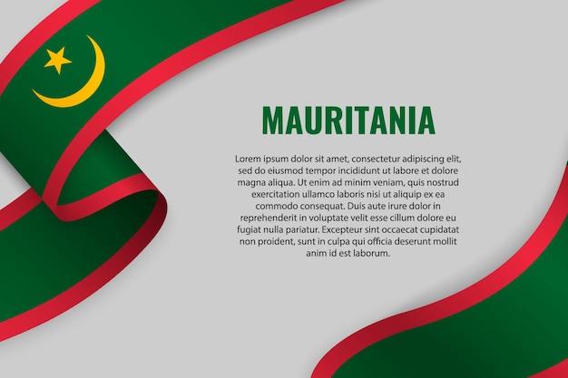 Sventolando in nastro o banner con bandiera della mauritania