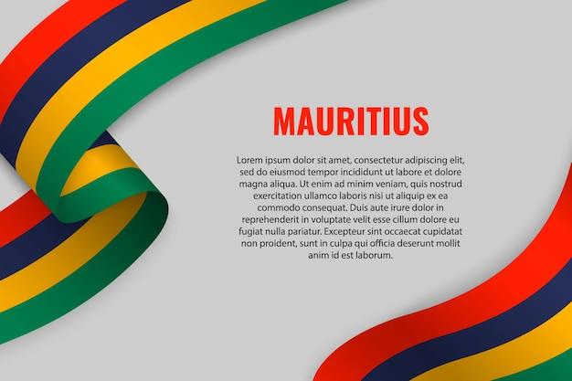Sventolando in nastro o un banner con la bandiera delle mauritius