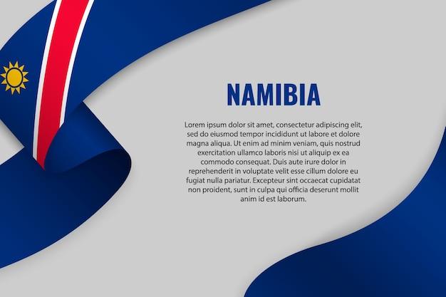 Sventolando in nastro o un banner con la bandiera della namibia