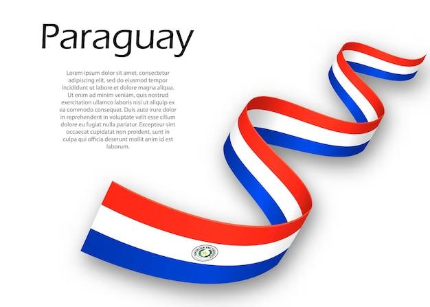 Sventolando nastro o banner con bandiera del paraguay. modello per il design del poster del giorno dell'indipendenza