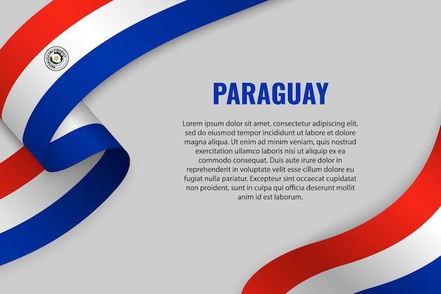 Sventolando in nastro o banner con bandiera del paraguay