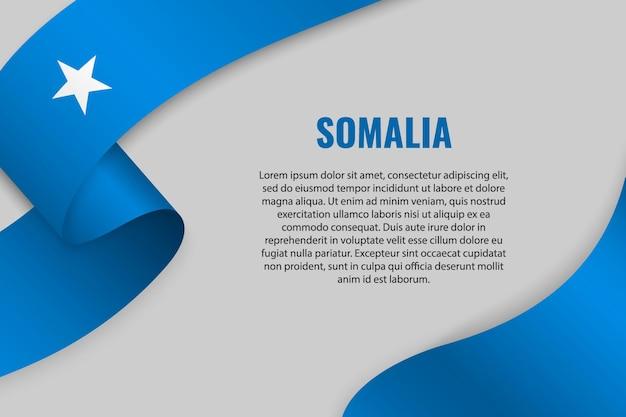 Sventolando in nastro o banner con bandiera della somalia