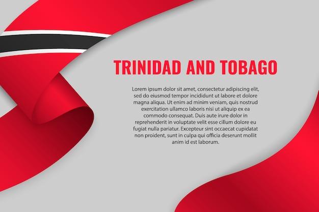 Sventolando in nastro o banner con bandiera di trinidad e tobago