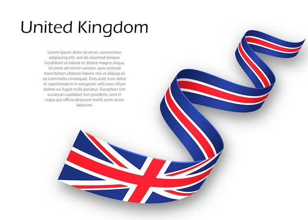 Sventolando il nastro o un banner con la bandiera del regno unito. modello per il design del poster del giorno dell'indipendenza