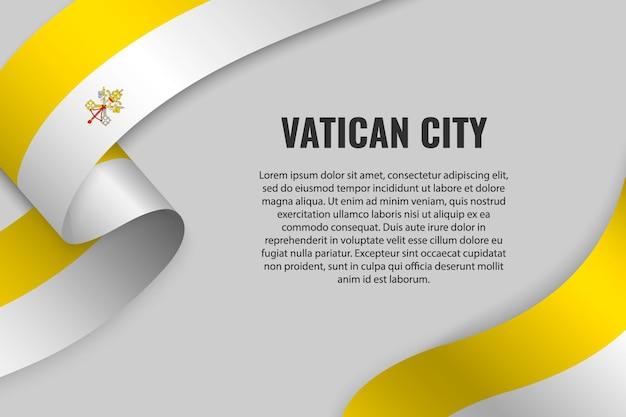 Sventolando in nastro o striscione con la bandiera della città del vaticano
