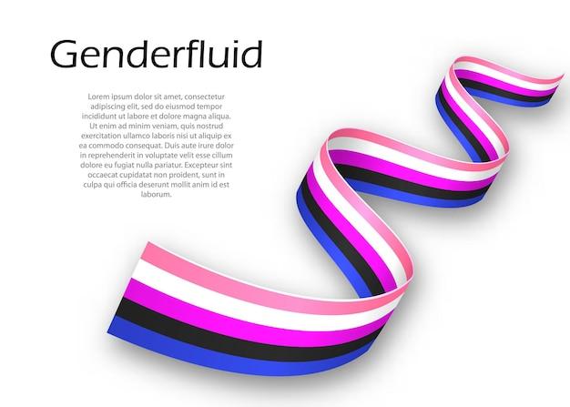 Sventolando il nastro o lo striscione con la bandiera dell'orgoglio di genderfluid, illustrazione vettoriale