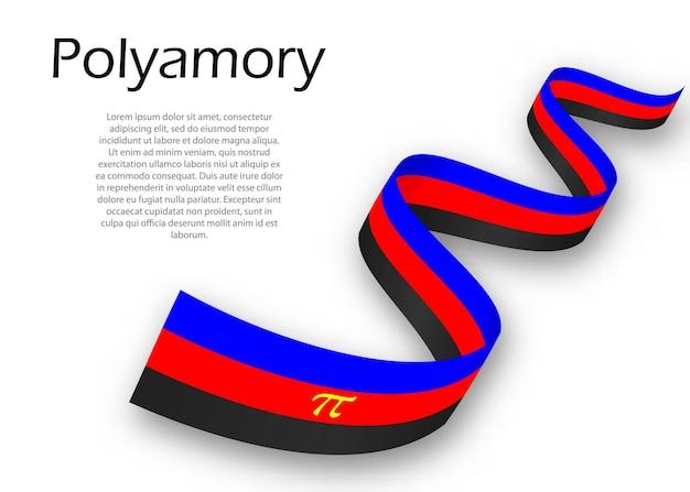 Sventolando nastro o striscione con bandiera dell'orgoglio polyamory, illustrazione vettoriale