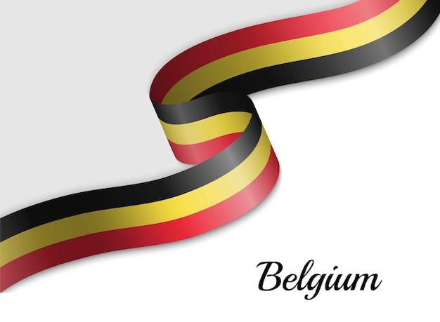Sventolando la bandiera del nastro del belgio