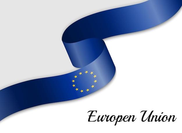 Sventolando la bandiera del nastro dell'unione europea