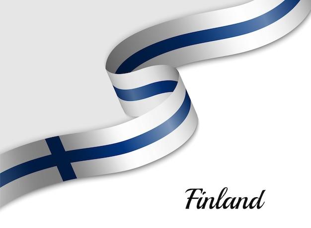 Sventolando la bandiera del nastro della finlandia